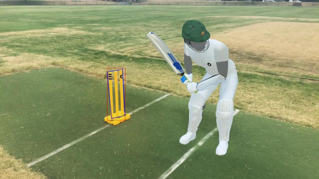 Render of batsman on cricket pitch