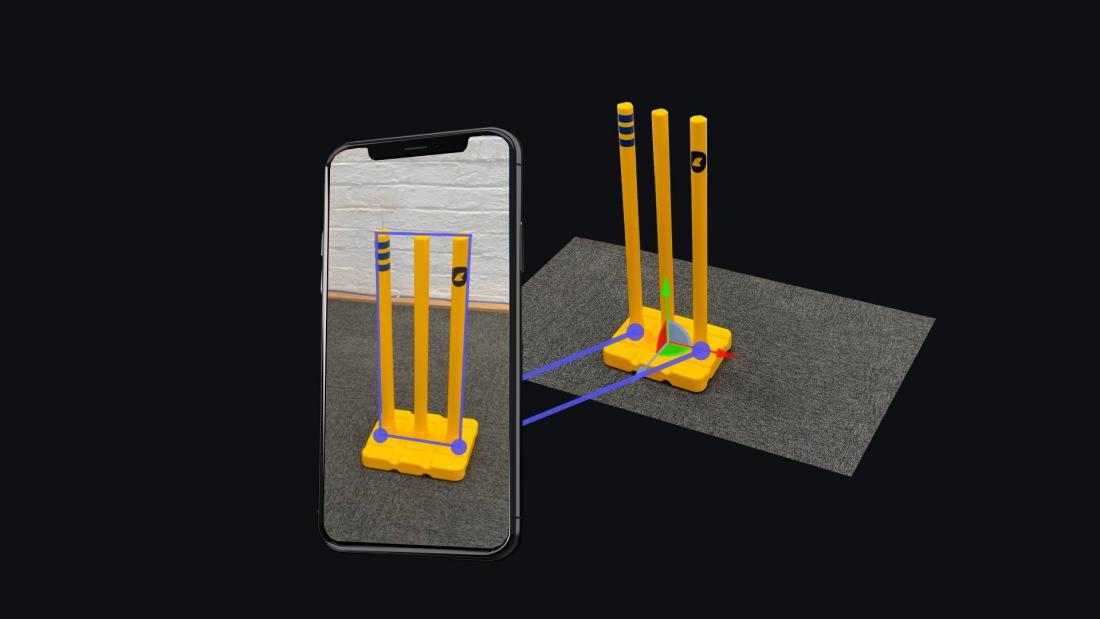 Render showing phone recognising elements on cricket stumps