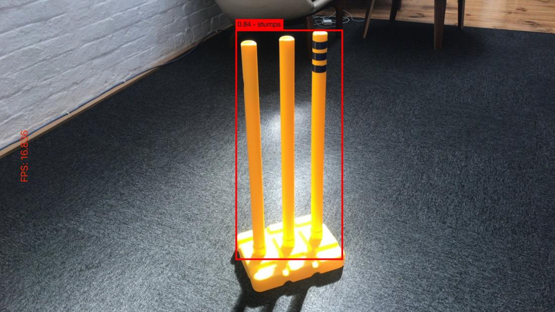 Photo of cricket stumps with box showing computer recognition of the object